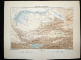 China/Kazakhstan: 1881 Antique Map, Lake Balkash, Reclus